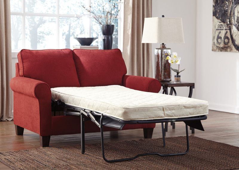 Zeth collection crimson fabric upholstered pull out twin ...