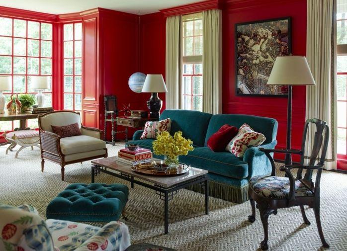 salon clásico, colores para pintar un salon, paredes en rojo