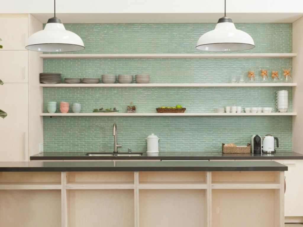 Kitchen Gl Tile Backsplash And 54 Tiny Turquoise Tiles Adorning Added With White Floating Shelves