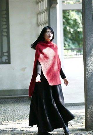 Womens+vintage+sleeveless+hooded+knit+cape+red+jumper+top