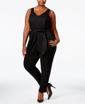 Melissa McCarthy Seven7 Trendy Plus Size Belted Jumpsuit - Black 0X