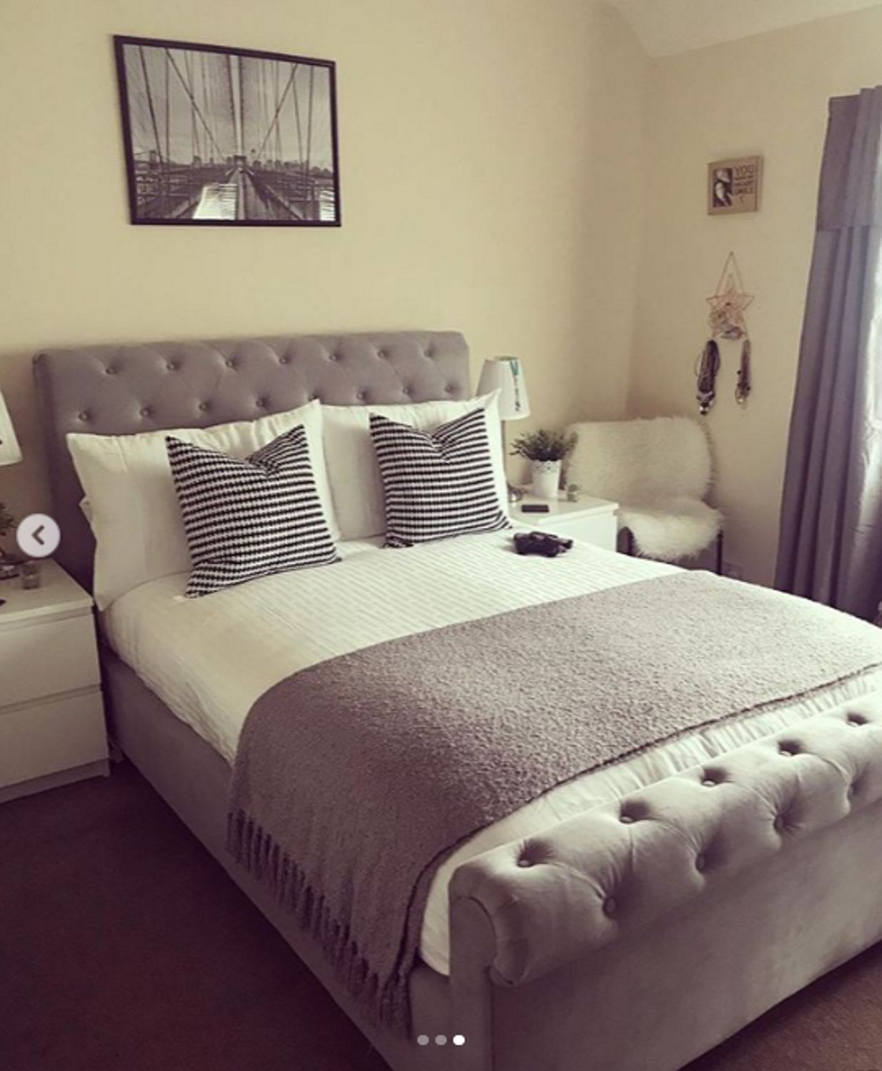 - Instagram: @bnksyx - Safina Roll Top Double Sleigh Bed In Grey