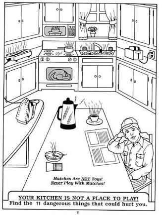 Kitchen safety google search fcs food kitchen safety for Home safety coloring pages