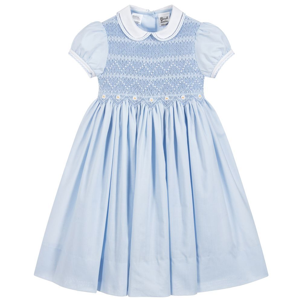 2c9cc2585850 Girls Blue Hand-Smocked Dress for Girl by Sarah Louise.