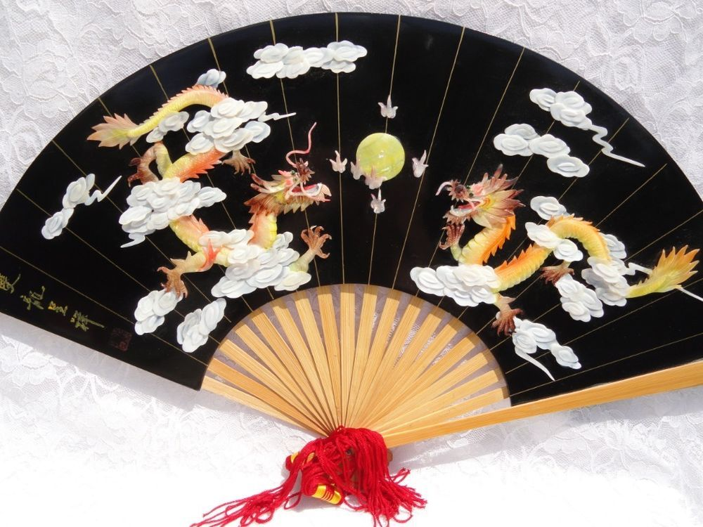 Vintage Chinese Carved Shell Dragon Cloud Fan Black Lacquer Signed Wall Hanging Chinese Fans Carved Shell Fan