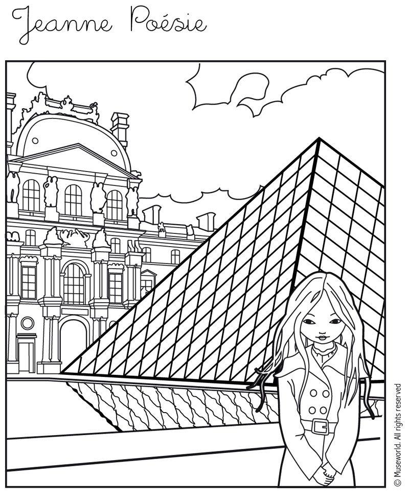 Coloriage de jeanne po sie devant le louvre school - Dessin de pyramide ...