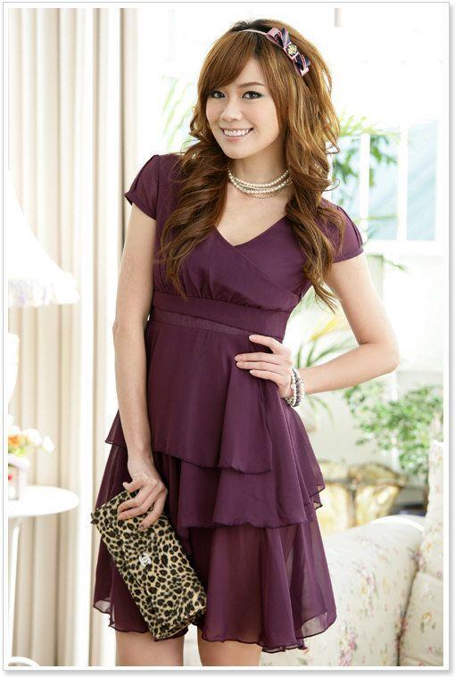 Süßes Cocktailkleid in Lila mit Ärmeln und Lagenrock #Kleid ...