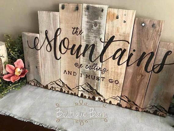 Photo of Mountains Are Calling Wood Wall Art Mountain Range Picture Lake Hunting Log Cabin Decor Reclaimed Wood Rustic Rocky Mountains Room Decor