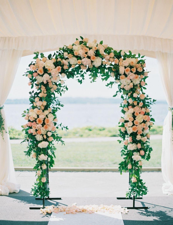 Romantic Blush And Coral Washington Wedding By The Water Modwedding Wedding Ceremony Flowers Wedding Arch Wedding Arch Flowers