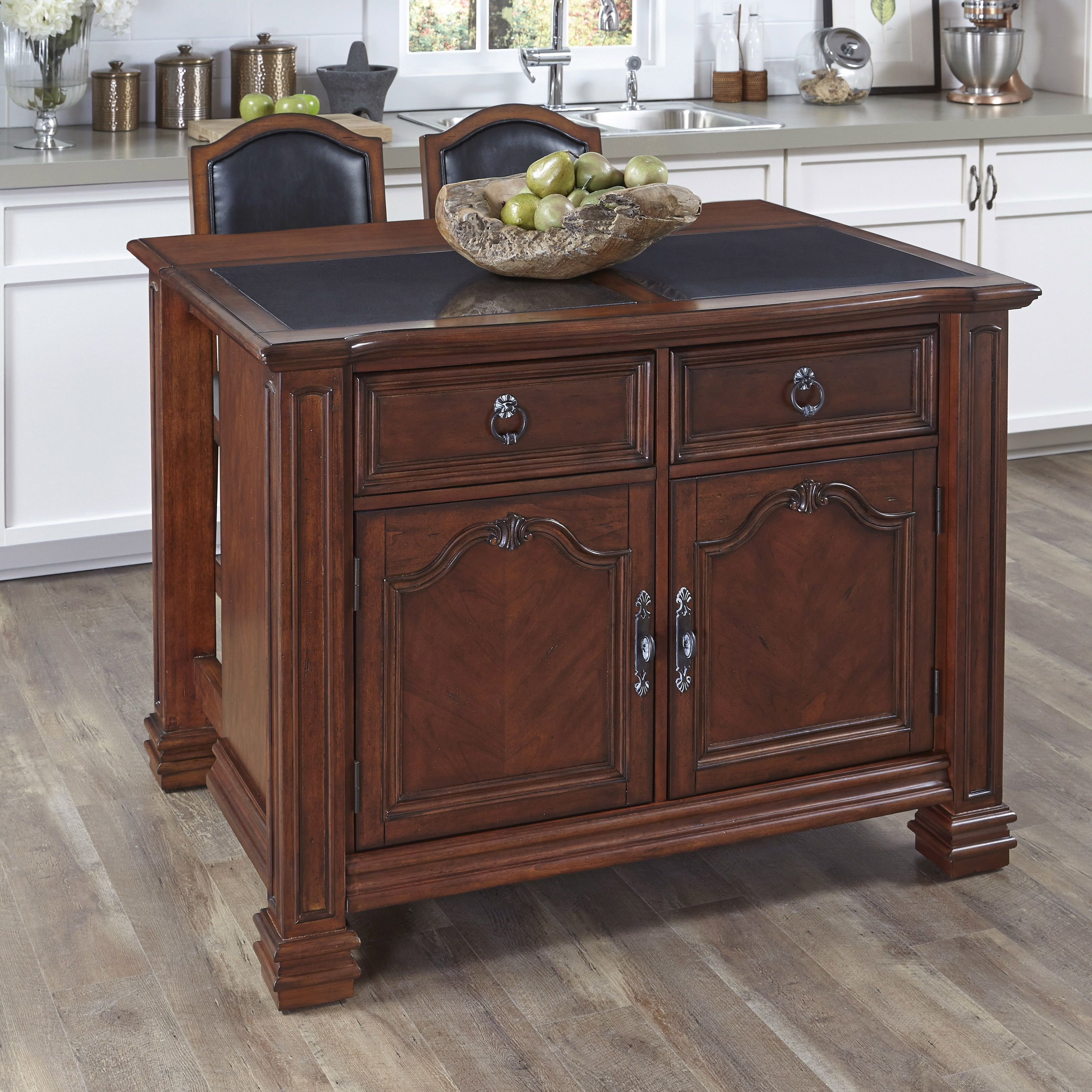 Home Styles Santiago Kitchen Island with Inset Granite Top and 2 Counter Stools