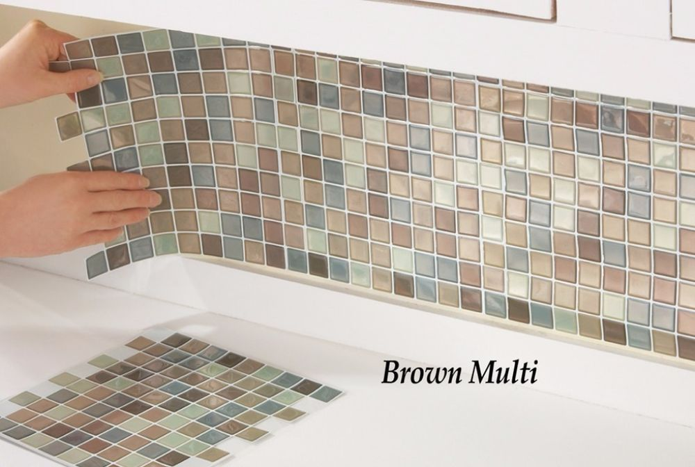 Wall Tiles Easy To Apply Brown Multi Mosaic Back-splash 10 Inches ...