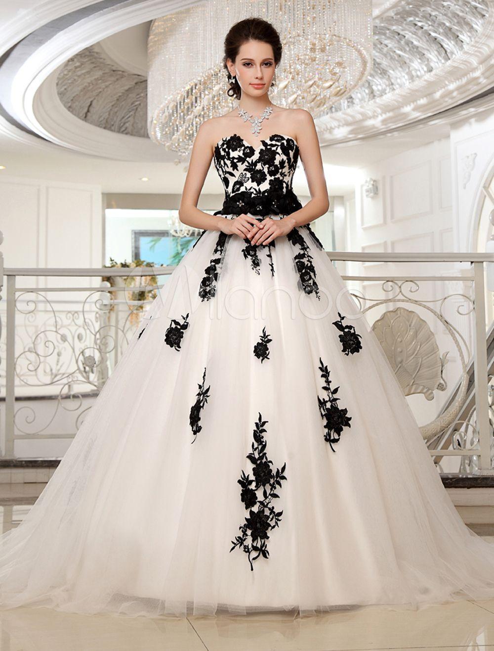 Wedding dresses strapless black bridal gown lace applique flowers