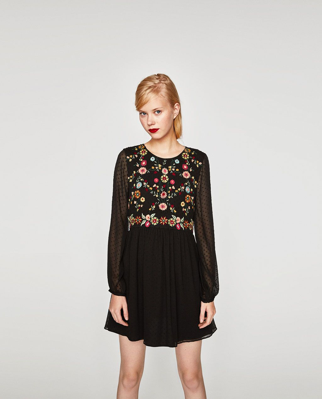 f8489b80a02b5f Image 2 of EMBROIDERED DOTTED MESH DRESS from Zara