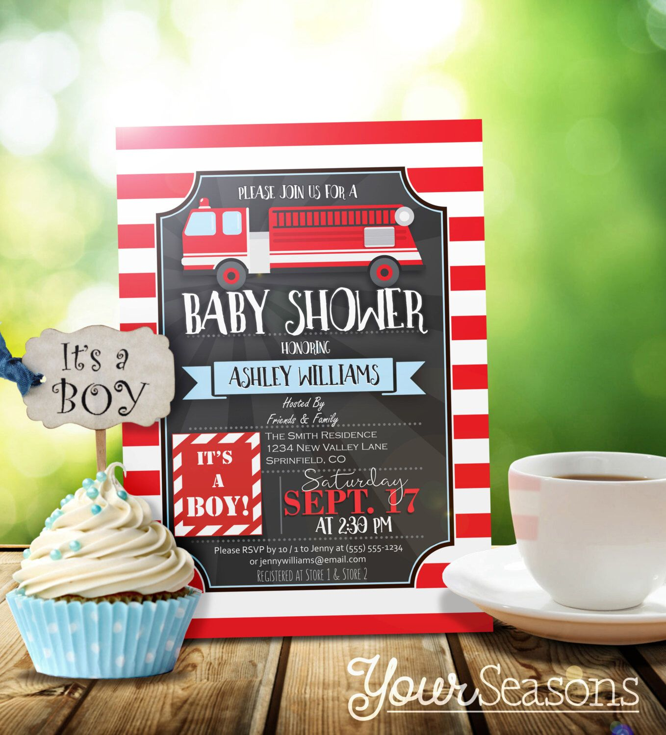 Fire Truck Baby Shower Invitation - Personalized Printable DIGITAL ...