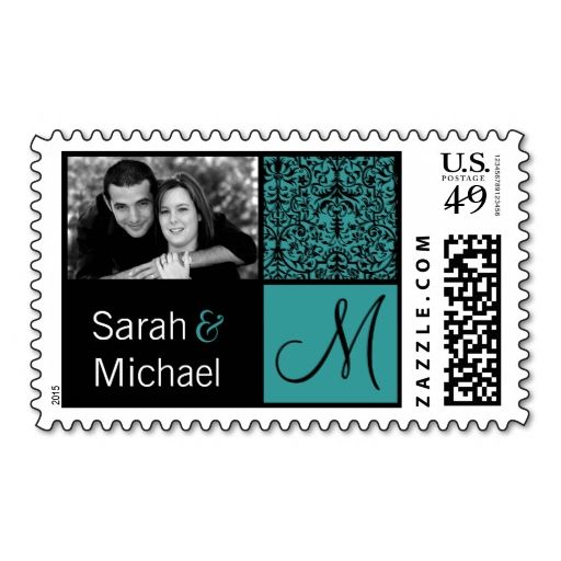 Teal and Black Damask Wedding Invitation Stamps