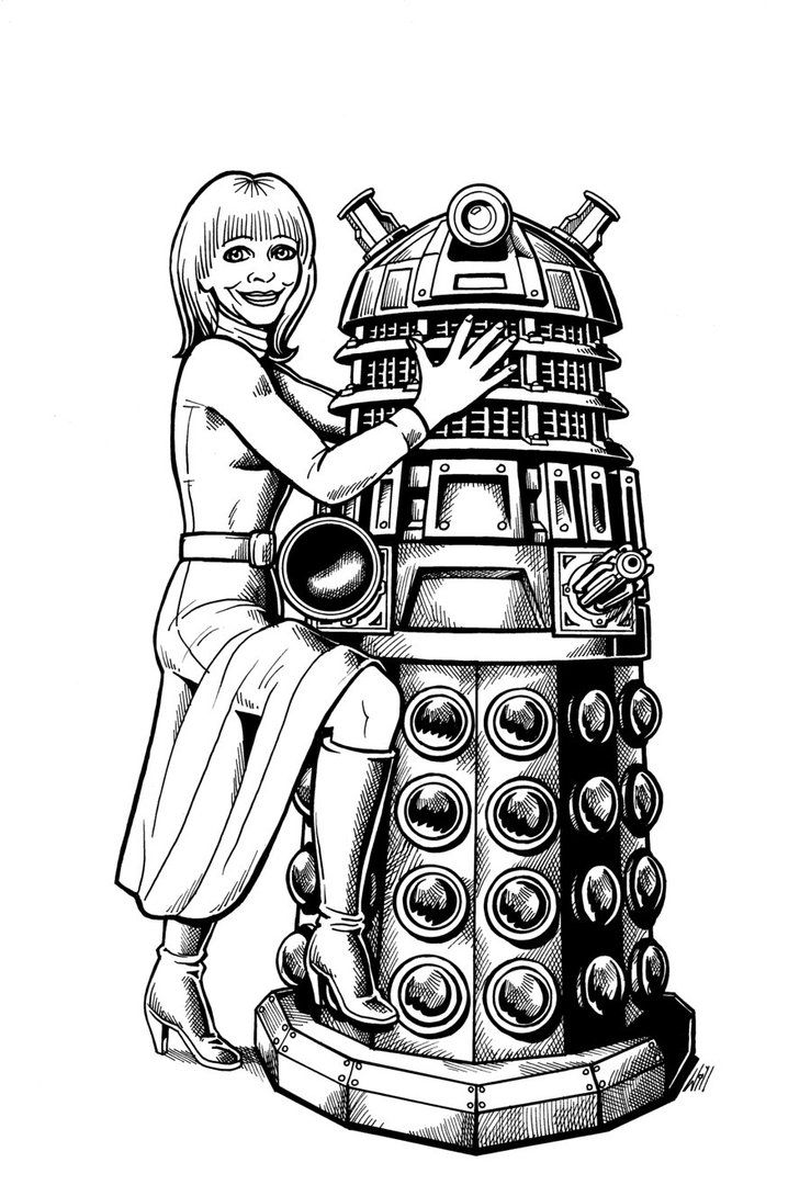 Katy Manning and Dalek by Will Thompson   DALEKS and girls   Pinterest