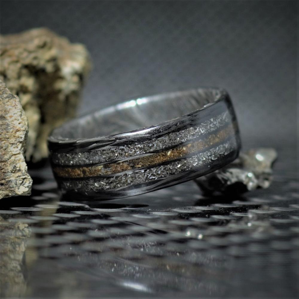 Dinosaur Meteorite Ring Carbon Fiber And Damascus Steel