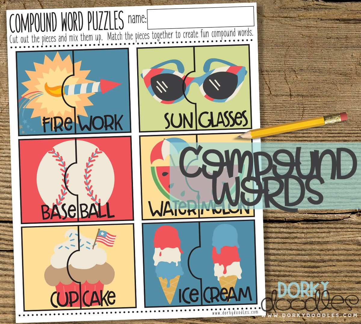4th Of July Compound Word Puzzles Printable