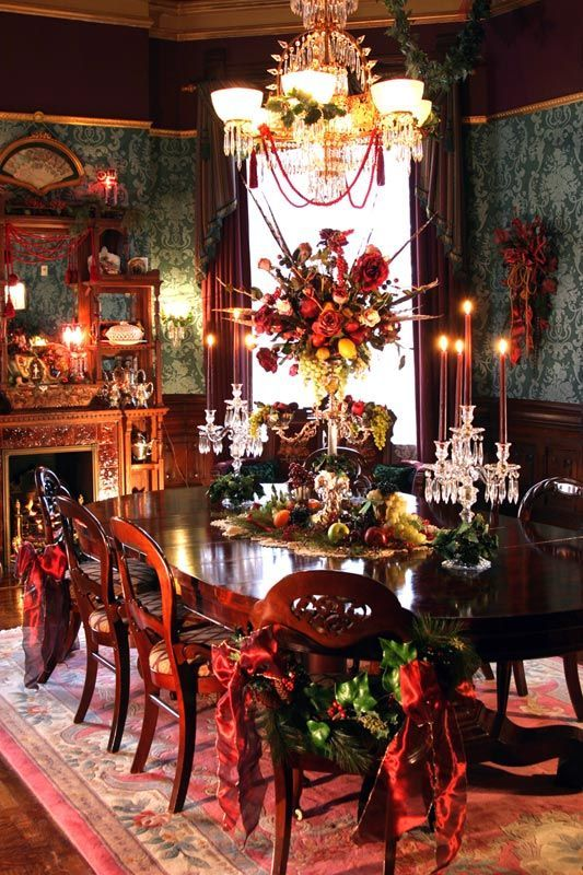 Victorian dining room dressed for the holidays yule for Victorian dining room decorating ideas