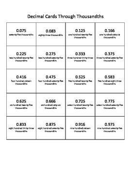 5 Nbt 3 Decimal Cards Tenths Hundredths Thousandths Mixed Decimals Through 2 Decimals Ten Cards