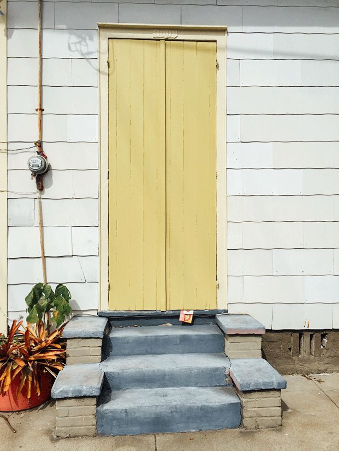 New Orleans doorway, adding a cheerful pop of color