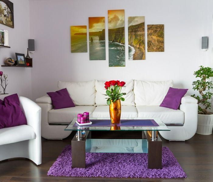 Setzen Sie Akzente Lila Interieur Ideen | Wandbilder Wohnzimmer 50 Ideen Wie Sie Die Wohnzimmerwande Mit