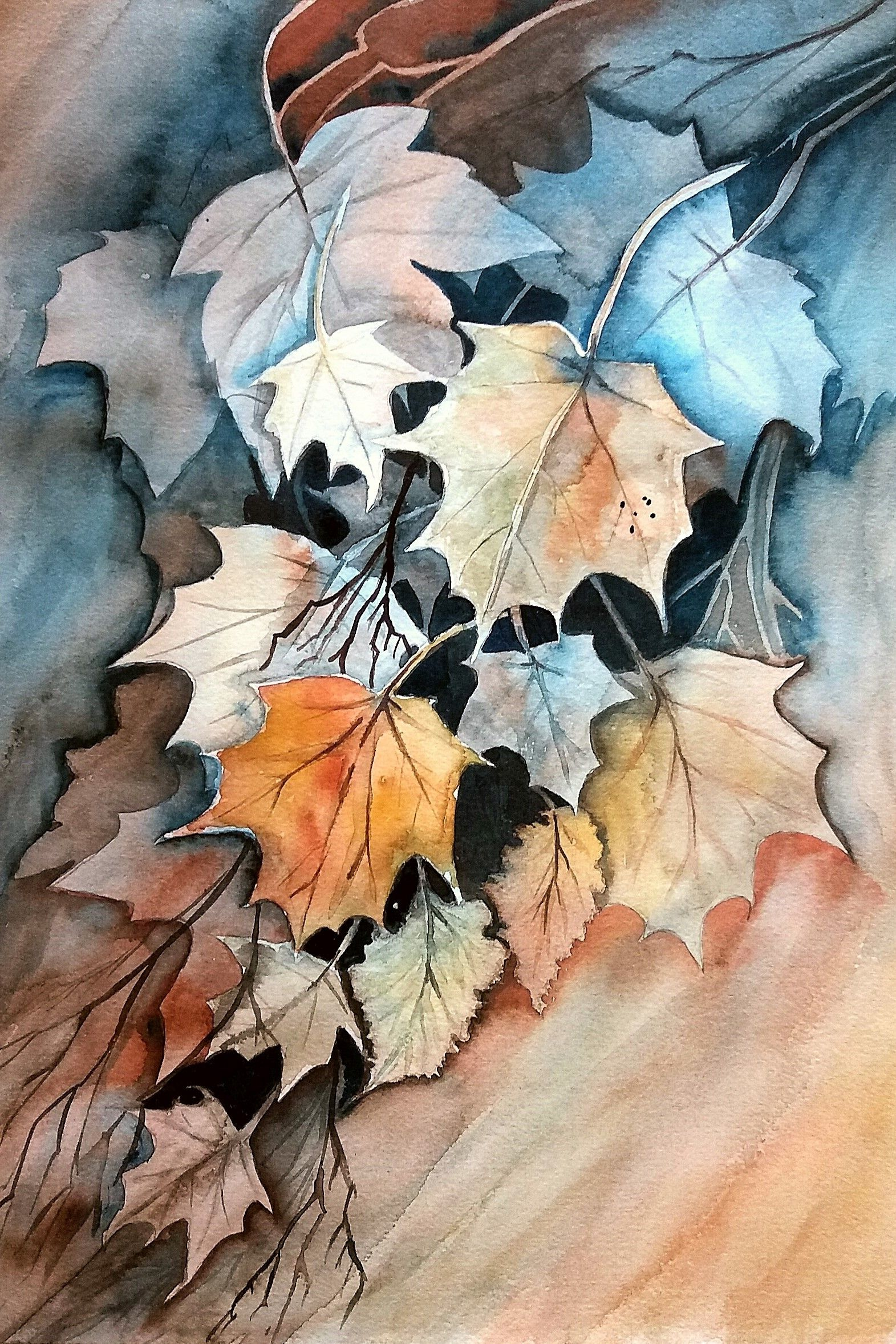 Aquarell Herbstblatter Negativmalerei With Images Watercolor
