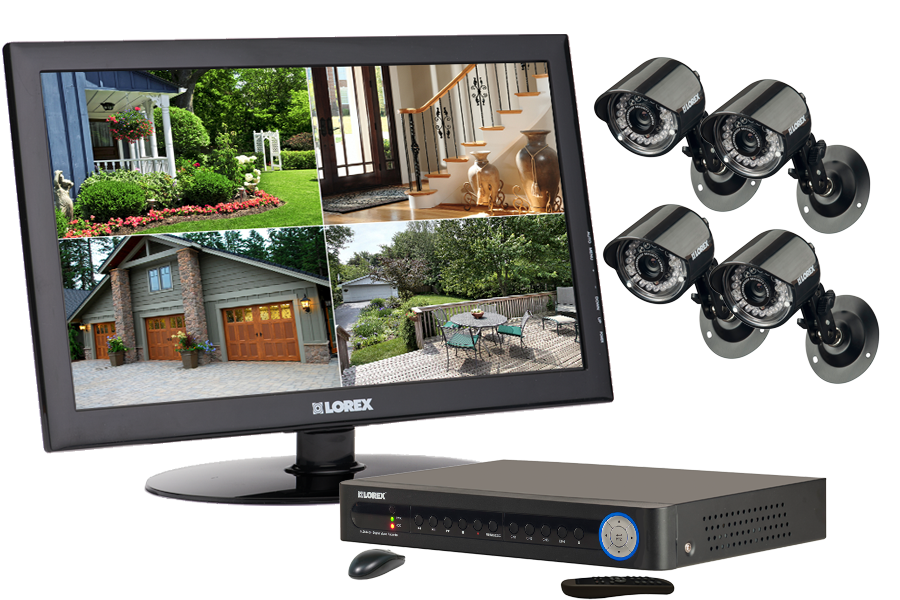Complete home security camera system with outside cameras