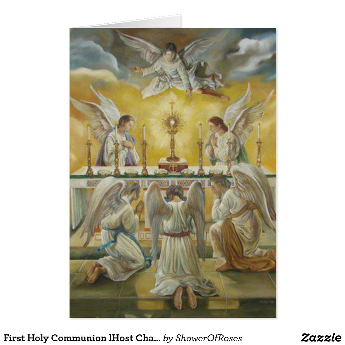 First holy communion lhost chalice angels card zazzle