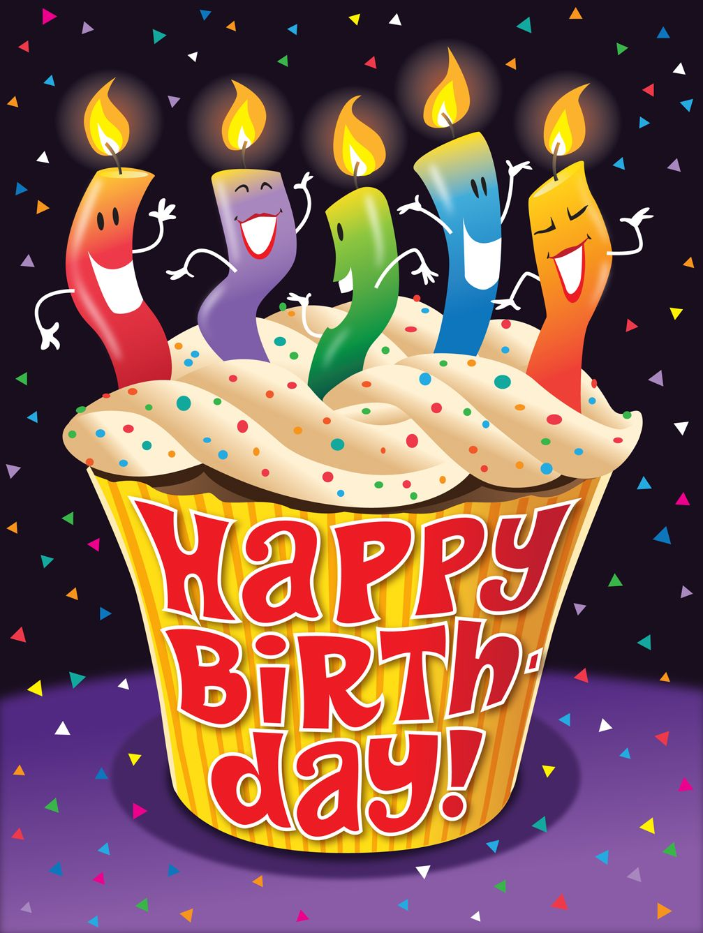Groovy Happy Birthday Dancing Candles Design By Larryjonesillustration Personalised Birthday Cards Veneteletsinfo