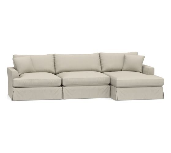 Sullivan Fin Arm Deep Seat Slipcovered Sofa with Chaise ...