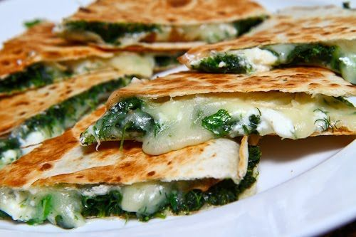 Spinach Mozzarella and Feta Quesadillas