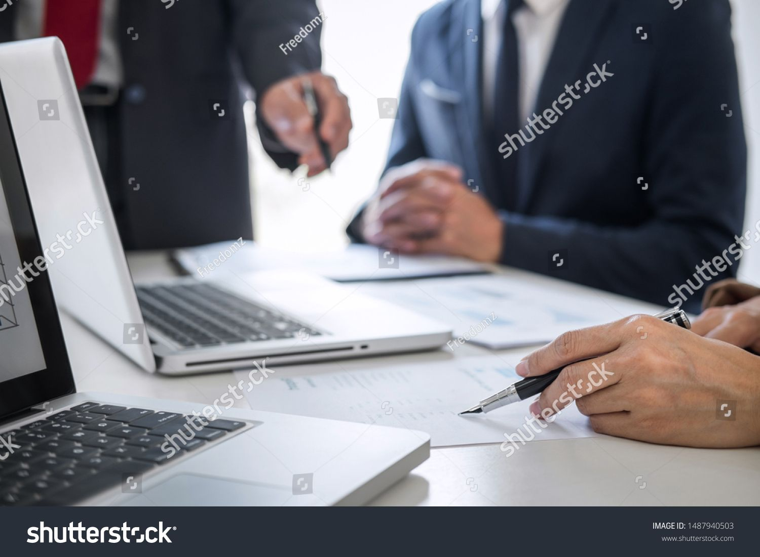 Business team meeting present Secretary presentation new idea and making report to professional investor with new finance project plan during discussion at meeting