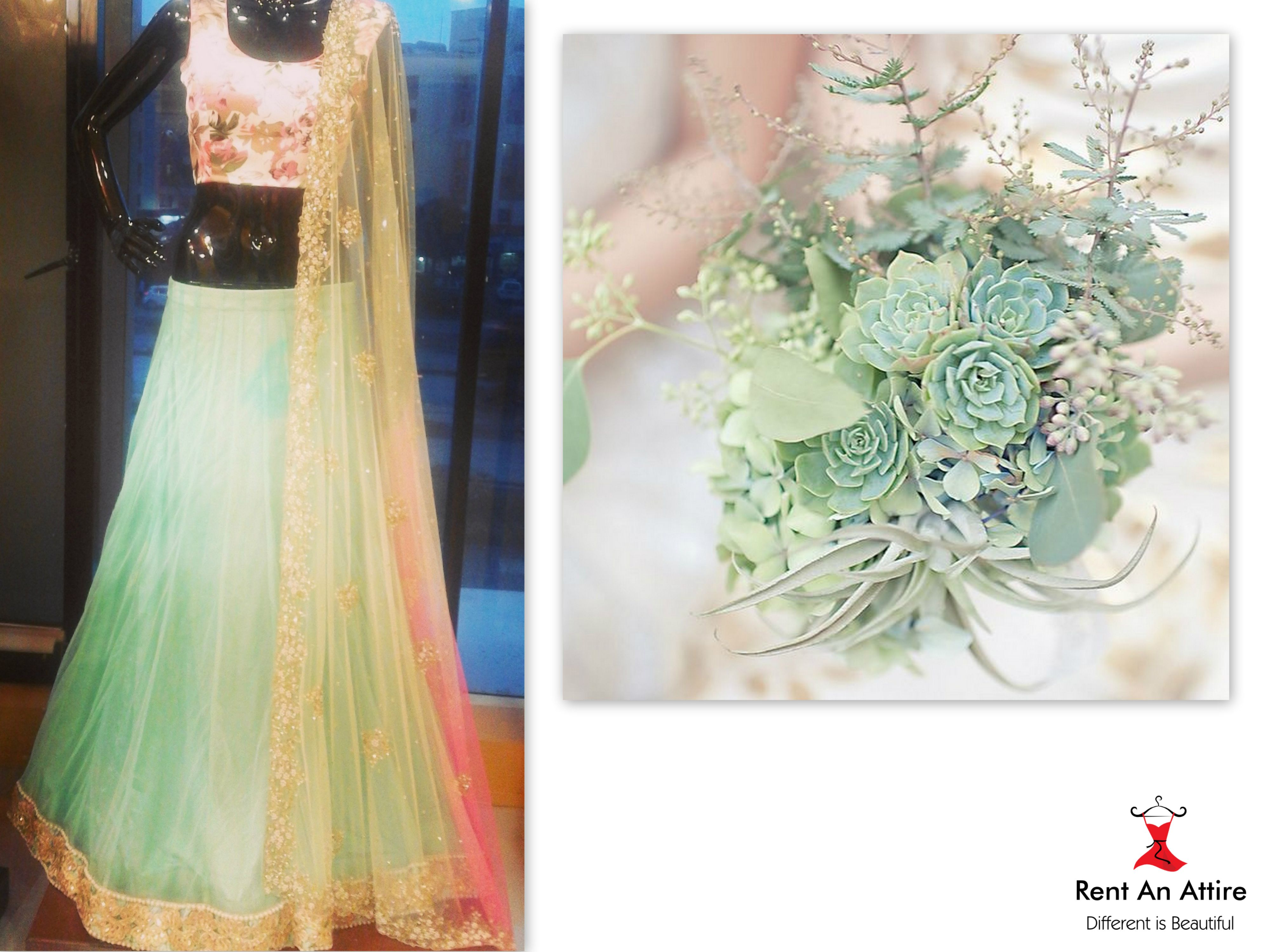 """""""Featuring a Mint Green Net Lehenga with Gold & Pearl Cutwork Border paired with Floral Blouse & Shaded Hand Embroidered Net Dupatta"""" The pastel colored lehenga has a subtle romantic & dreamy touch which looks fresh, young and trendy.. Setting a calm mood for this season, take a look at our elegant designer lehenga collection..! Try it ♡ Book it ♡ Flaunt it #pastel #love #dreamy #elegant #chic #pretty #designer #lehenga"""