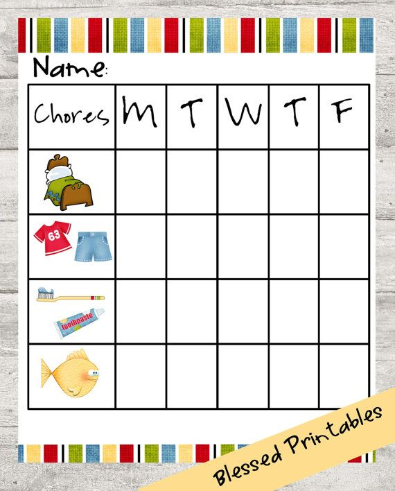 Toddler Chore Chart Printable  Toddler Chore Charts Toddler