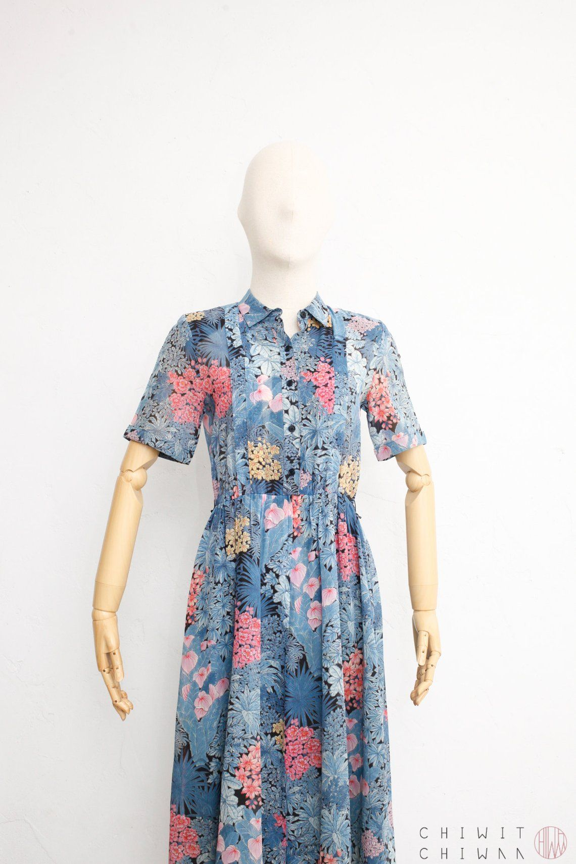 e88c3f023ce83 Vintage 70s Dress | Sheer Cotton Floral Shirtdress | Japanese ...