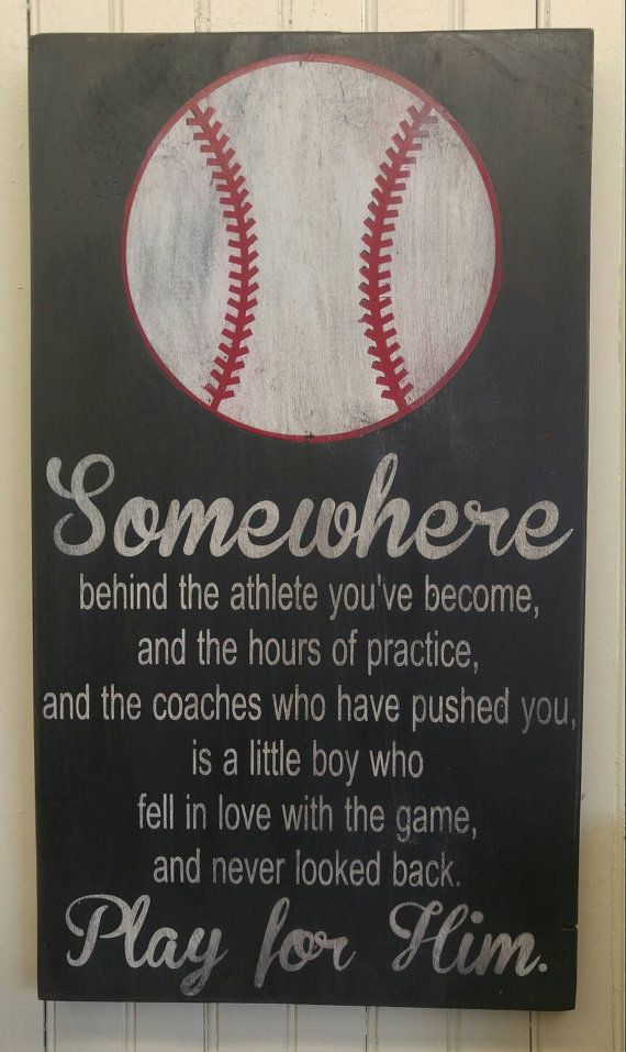 Play For Him Baseball Art Gift Ball Player Unique Boys Bedroom Decor Coach College Dorm Little League Team Gifts