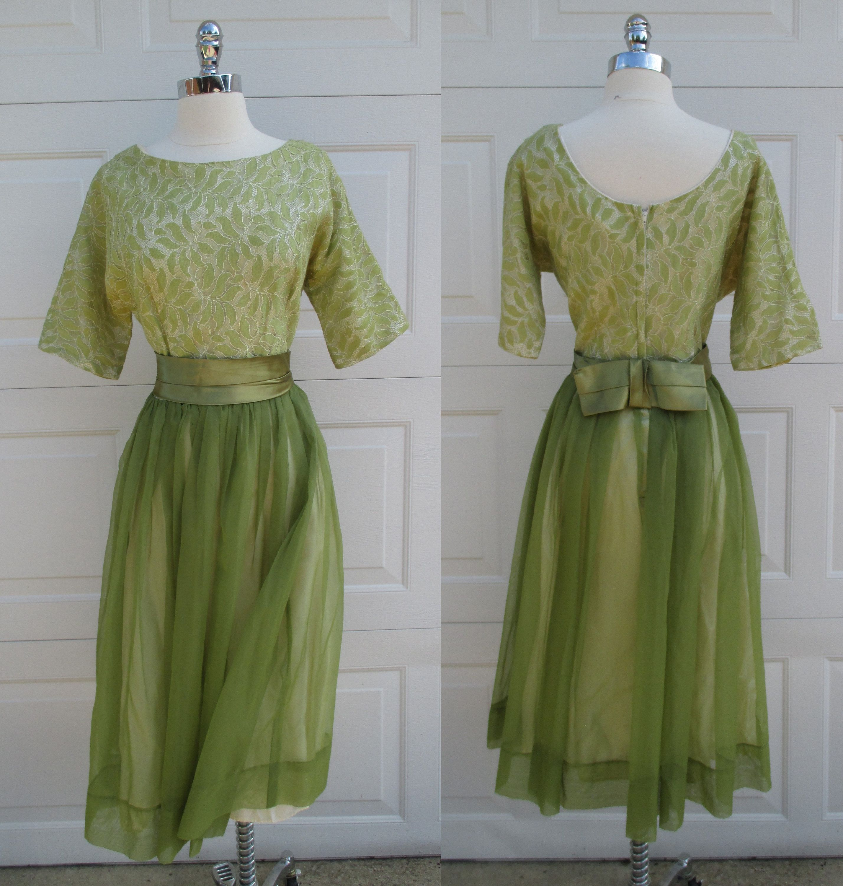 Light olive green cocktail dress lace scoop neck top sheer overlay
