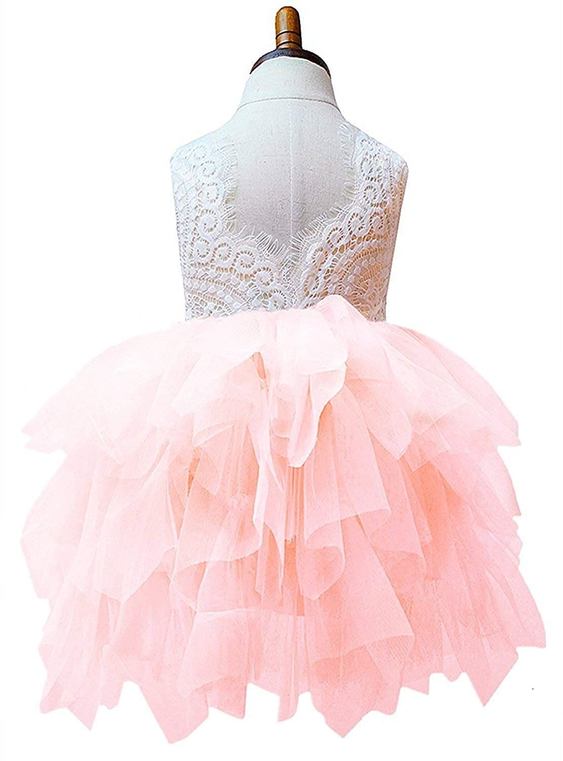b25e56304cc 2Bunnies Girl Baby Girl Beaded Backless Lace Back ALine Tutu Tulle Party Flower  Girl Dress Pink Sleeveless Short 12 Months     Check this awesome product  by ...