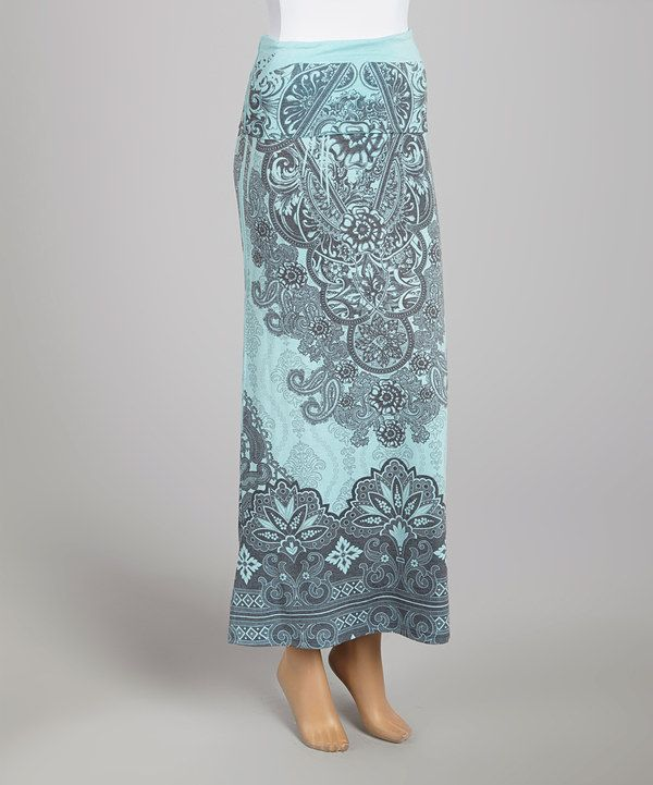 Blue & Black Brocade Maxi Skirt by Casa Lee #zulily #zulilyfinds