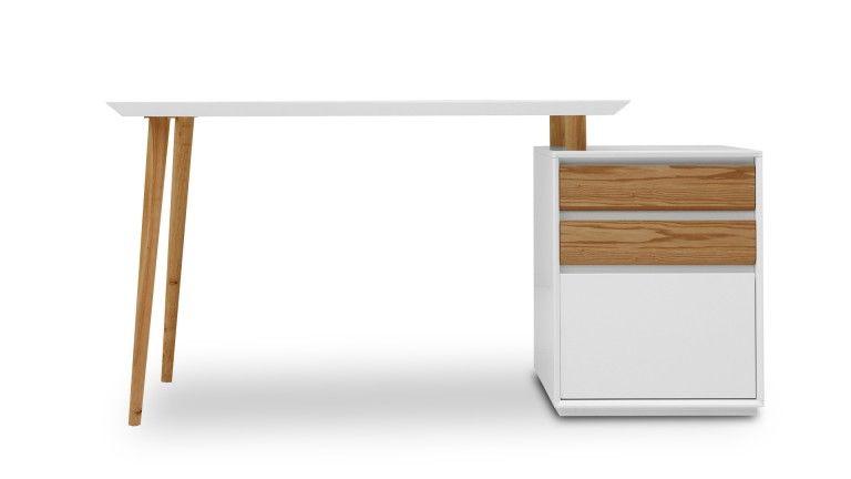 Bureau tiroir bureau blanc mat svartan avec caisson tiroirs