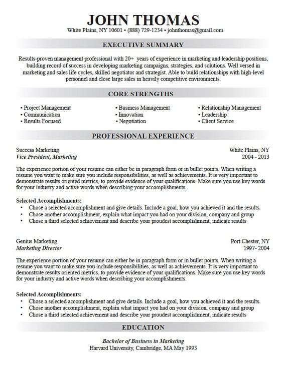 Professional Resume Writing, Custom Resume Design, Resume Template - resume highlights examples