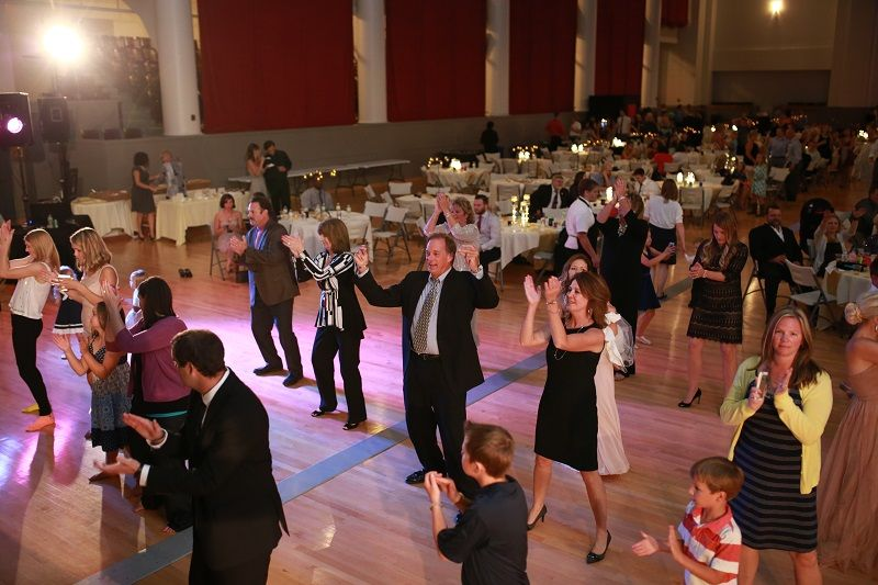 Guests dancing at the wedding reception at the Vets Memorial Building captured by Michael Grobin Photography.
