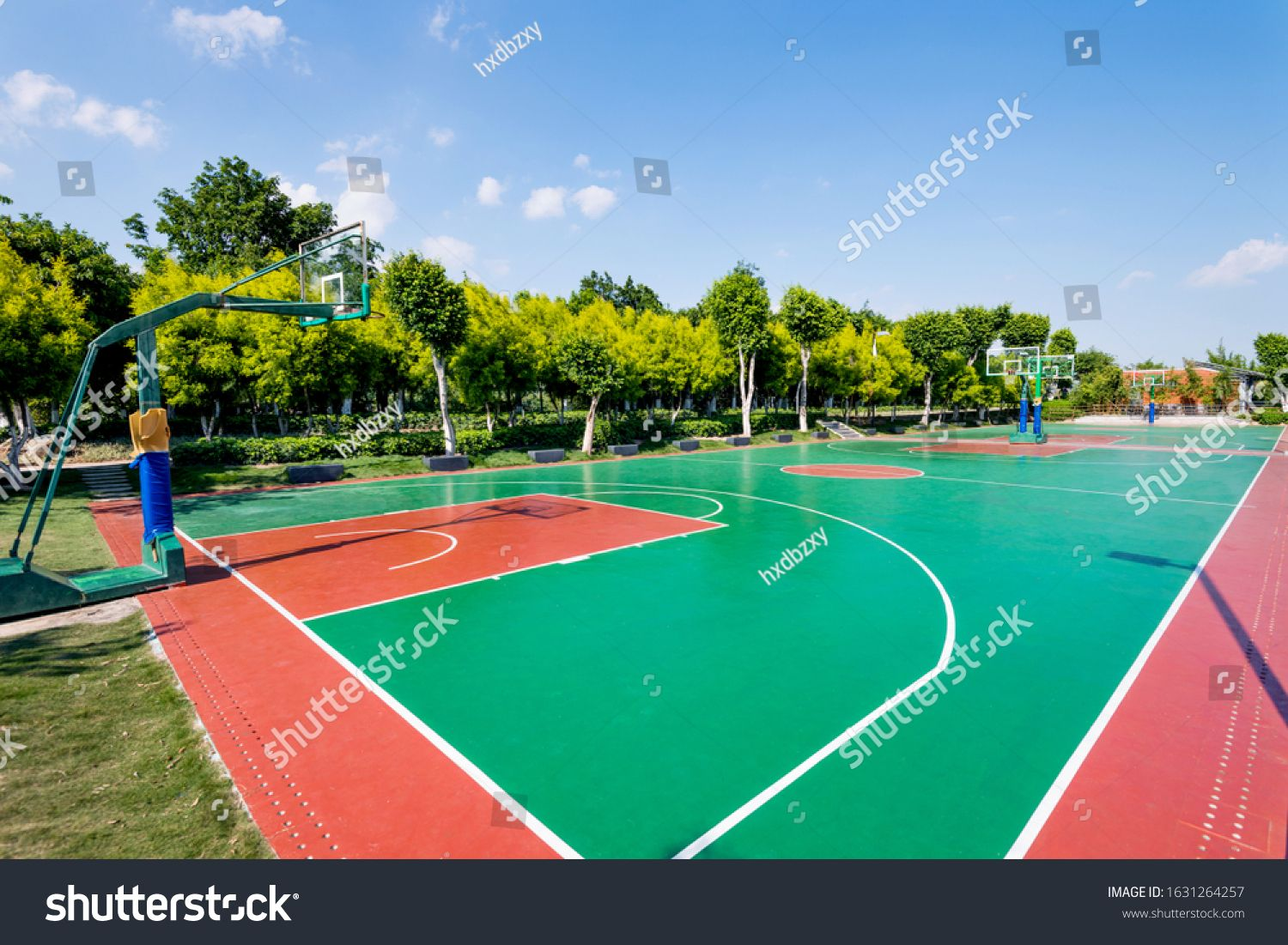 Outdoor Basketball Court With Nobody Ad Ad Outdoor Basketball Court In 2020 Outdoor Basketball Court Football Ball Outdoor