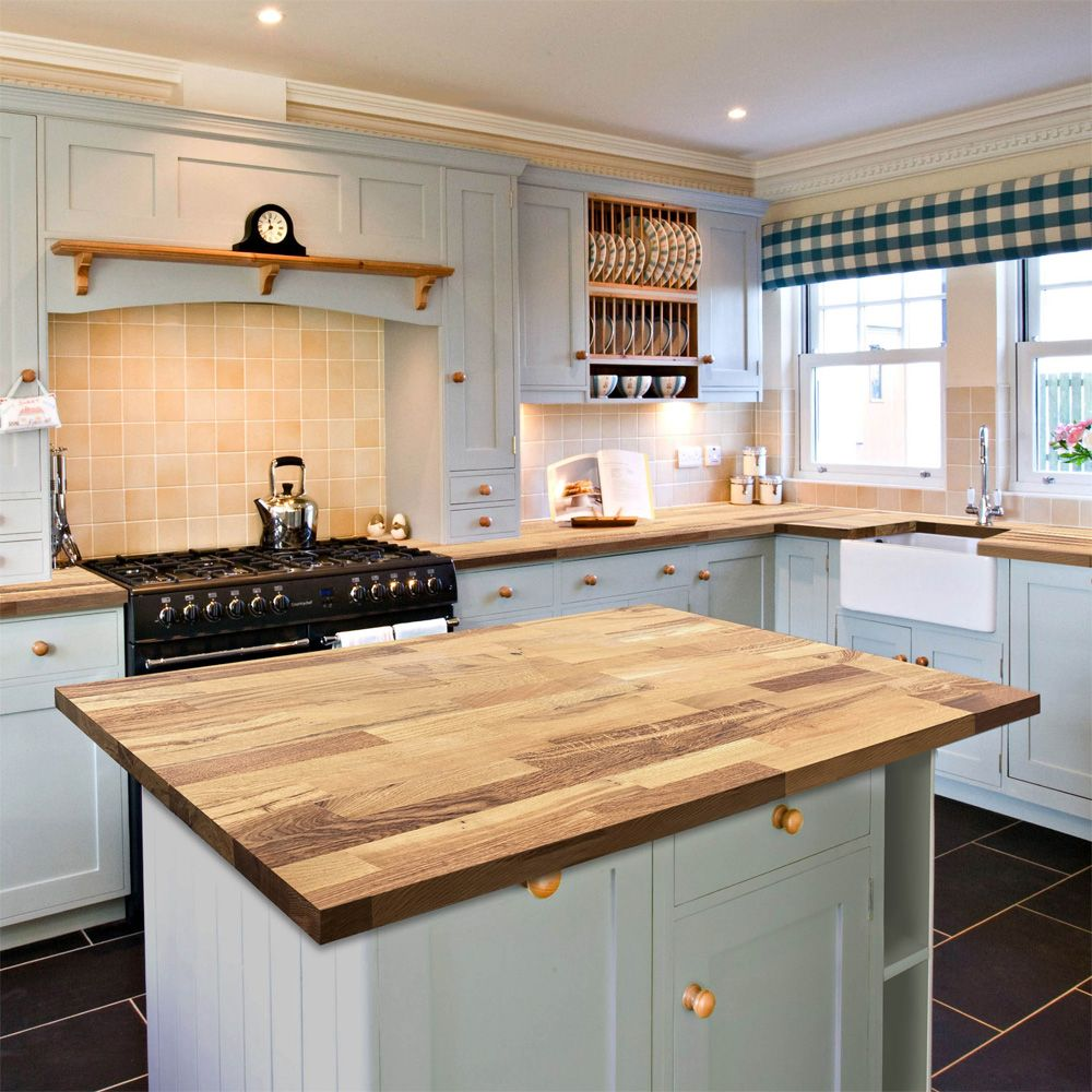 Solid Wood Farmhouse Oak 3050mm x 600mm x 40mm Stave