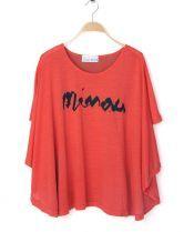 Orange Irregular Hem Cape Flowing Chiffon Back T-shirt $30