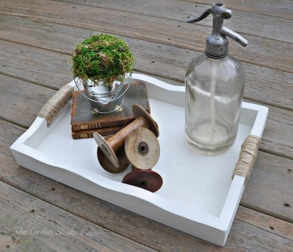 Thrift store tray makeover in French Country style