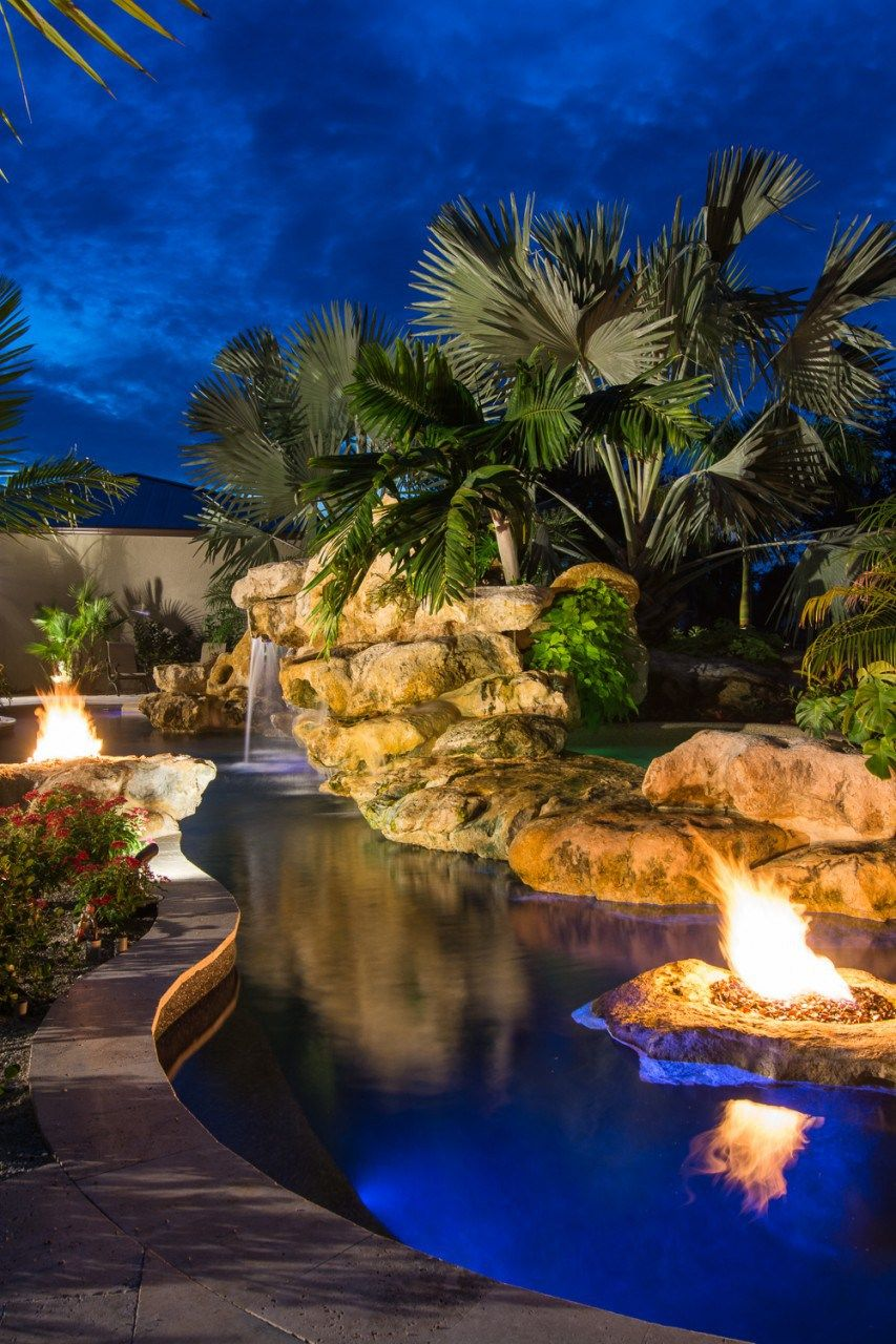 Natural Pool Fire Pits Spa And Stone Waterfalls Grotto Natural Pool With Stone Fire Pits Spa And Stone Waterfall G Pool Landscaping Pool Waterfall Lagoon Pool