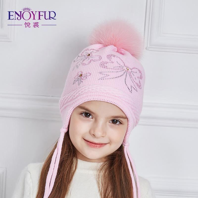 8445c5cc4e3 Enjoyfur Rhinestones Bow-Knot Children Winter Hats Real Fox Fur Pompom  Knitted H