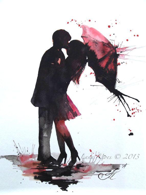 Liebe Paris Romantik Kiss Red Umbrella Original Aquarell Gemalde
